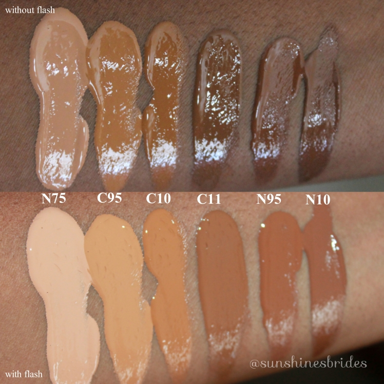 Swatches of the Foundations with Camera Flash and Without.